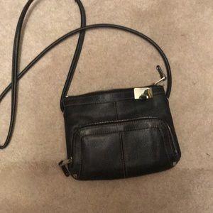 Tignanello black cross body leather bag